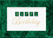 Green Marble Happy Birthday Card